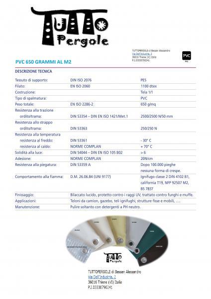 SCHEDA TECNICA PVC 650 GR/M2